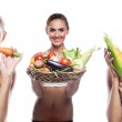 Woman holding basket with vegetable. Concept vegetarian dieting — Stock Photo #25425423