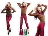 ファッションのスタイルの買い物袋では美しい少女のスタジオ撮影です。 — ストック写真