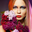 Beauty woman withwith flower wreath. Professional Makeup  — Foto de Stock
