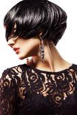 Studio shot of Sexy Fashional Woman in Black Dress. — 图库照片