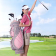 Asian woman play golf — Stock Photo #19309073