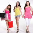 Pretty asian women go shopping — Stock Photo