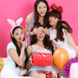 Asian girls celebrating birthday party — Stock Photo