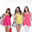 Asian women go shopping — Stock Photo