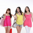 Stock Photo: Asian women go shopping