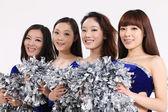 构成的四个亚洲啦啦队 — 图库照片