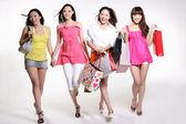 Beautiful asian women go shopping — Stock Photo