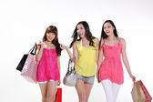 Asian women go shopping — Stock Photo