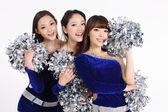 鞋面钉绒球构成的亚洲啦啦队 — 图库照片