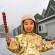 One chinese boy(4-5 years) standing smiling — Stock Photo