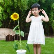 Little girl with a sunflower — Stock Photo