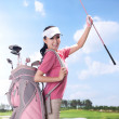 Sexy womholding golf clubs — Stock Photo #36536647