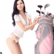 Sexy womholding golf clubs — Stock Photo #36537437