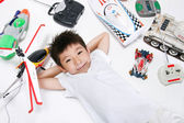 Boy with toys — Stock Photo