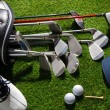 Golf clubs,shoes,balls,hat and glove — Stock Photo