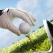 Placing golf ball on tee — Stock Photo #37178209