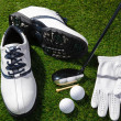 Golf shoes,balls,club,tee and glove — Stock Photo