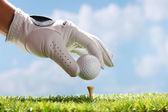 Placing golf ball on tee — Stock Photo