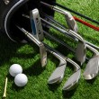 Golf clubs,balls,tee and glove — Stock Photo