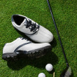 Golf clubs and shoes — Stock Photo