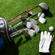 Golf glove,balls,tee and clubs in bag — Stockfoto