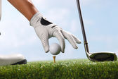 Placing golf ball on tee — Stock Photo