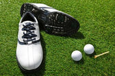 Golf shoes,tee and balls — Stock Photo