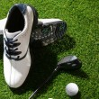 Stock Photo: Golf shoes,club and ball
