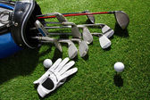 Golf glove,ball and clubs in bag — Stock Photo