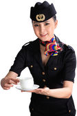 Chinese flight attendant holding a cup of coffee — Stockfoto