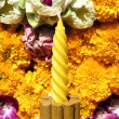 Stock Photo: Incense and flowers, orchids, marigold in Loy Krathong festival,