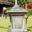 Wood ancient lamp in garden of resort at Khaokho, Thailand — Stock Photo