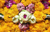 Lotus, orchids, marigold for Loy Krathong festival, Thailand — Stock Photo