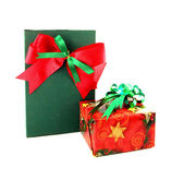 Red and green gift box with ribbon on white background — Stock Photo
