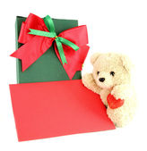 Teddy bear and card and gift on white background — Foto de Stock