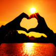 Heart shape made with man and woman hands at the sun — Stock Photo