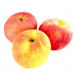 Fresh ripe red and yellow apples on white background — Stock Photo