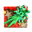 Christmas gift box with green bow isolated on white background — Stock Photo