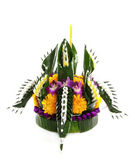 Loy kratong Festival in Thailand, on white background — Stock Photo
