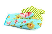 Two oven gloves in cyan and green — Stock Photo