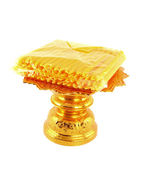 Candle pack on golden tray on white background — 图库照片