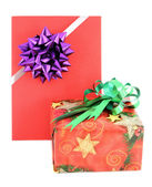 Gift box and gift card with ribbin bow on white background — Stock Photo