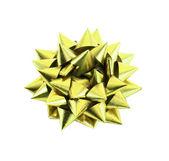 Gele geschenk boog geïsoleerd op wit — Stockfoto