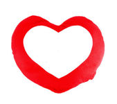 Soft red heart pillow blank for text on white background — Stock Photo