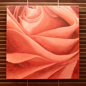 Red rose on the wall — Stock Photo