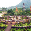 Park nong nooch in Thailand, shrubberies grow in geometric figur - Stock Photo