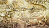 Stuc thaïlandais culture autochtone sur le mur en pierre, thaïlande — Photo