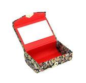 Otworzyć małe pudełko z lusterkiem wewnątrz — Zdjęcie stockowe