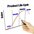 A pen pointer 3D product life cycle chart (marketing concept) — Stock Photo #26483237