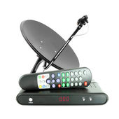 Set of receive box remote and dish antenna — Stock Photo